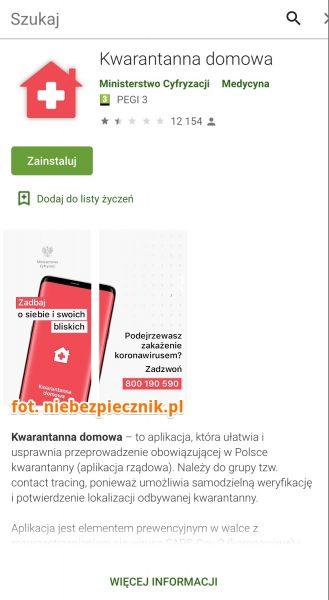 screen ekranu z fałszywą aplikacją
