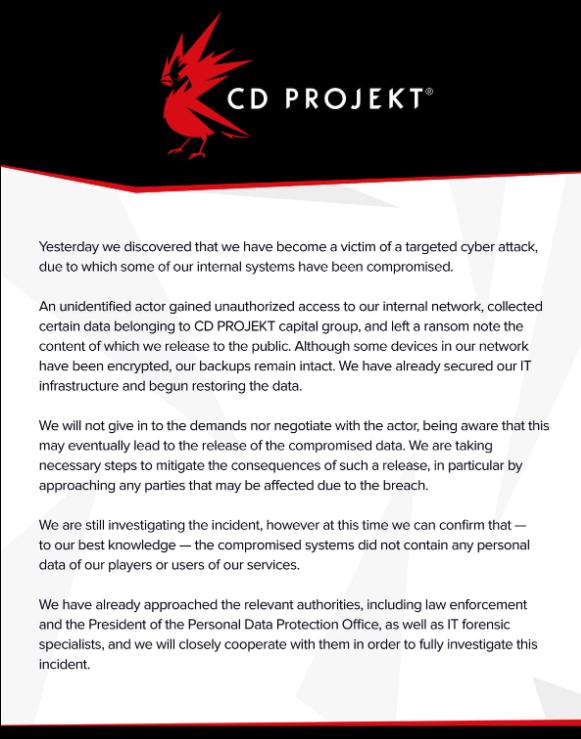 oświadczenie CD Projekt